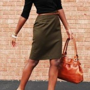 Alex Marie - Olive Green/Brown Pencil Skirt